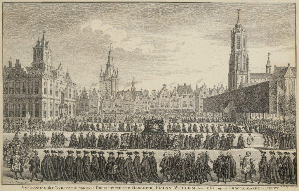 De uitvaart van Willem IV op 4 februari 1752; gravure door Simon Fokke (TMS 59613)