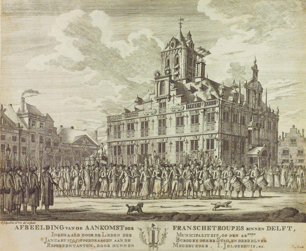 Franse troepen trekken Delft binnen op 22 januari 1795; gravure van J. Jelgerhuis (TMS 65368)