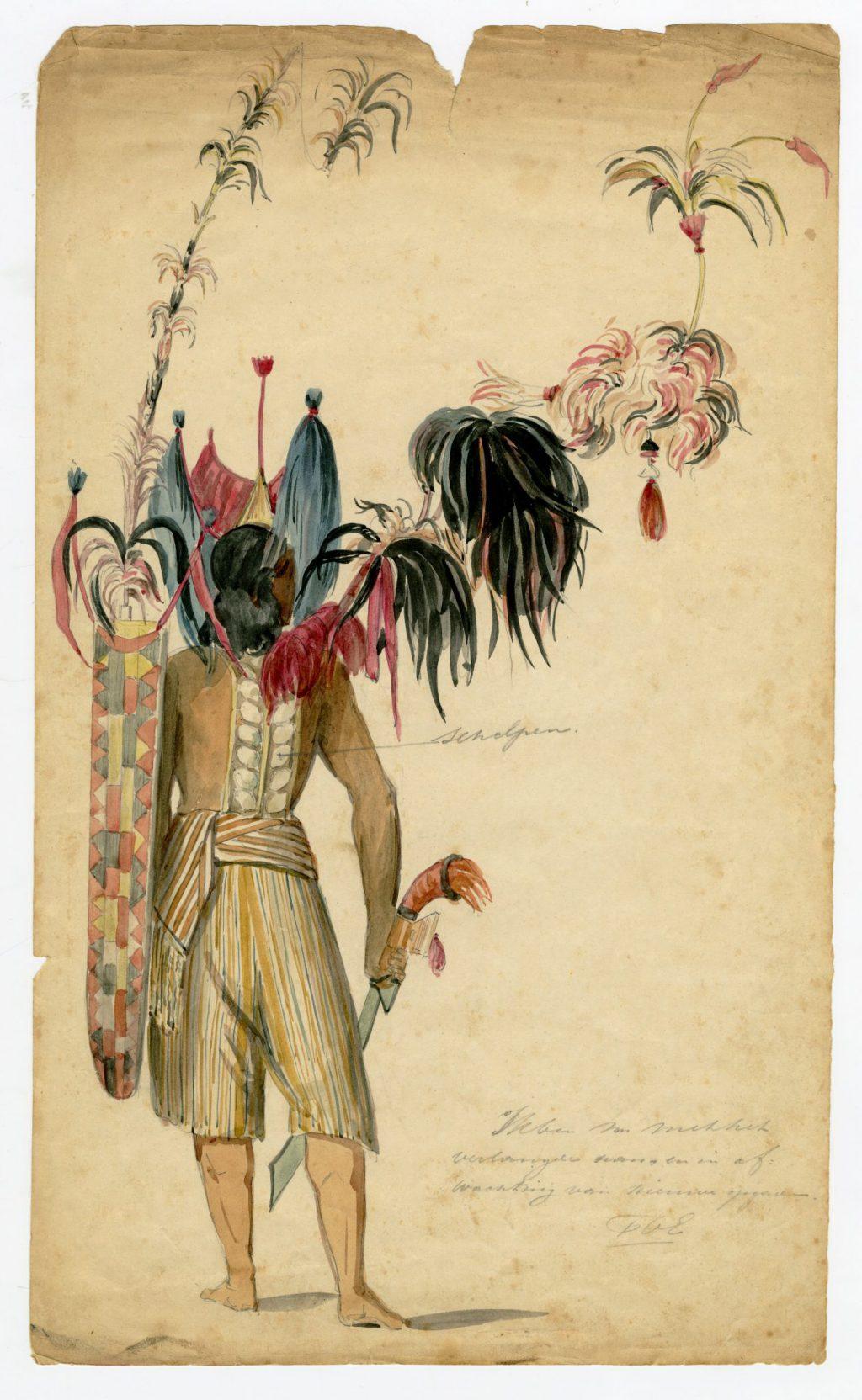 Paul Tetar van Elven, Aquarel van een kostuum voor de maskerade van het Delftsch Studenten Corps, 1857 (TMS 261384)