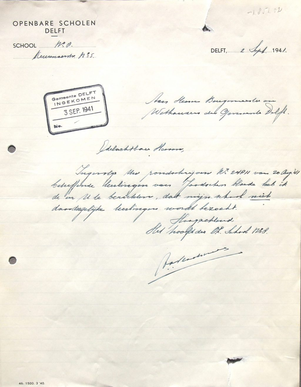 Brief van het hoofd van Openbare School nummer 8 over aanwezigheid Joodse leerlingen, 1941 (Archief 653, inv.nr 6685)