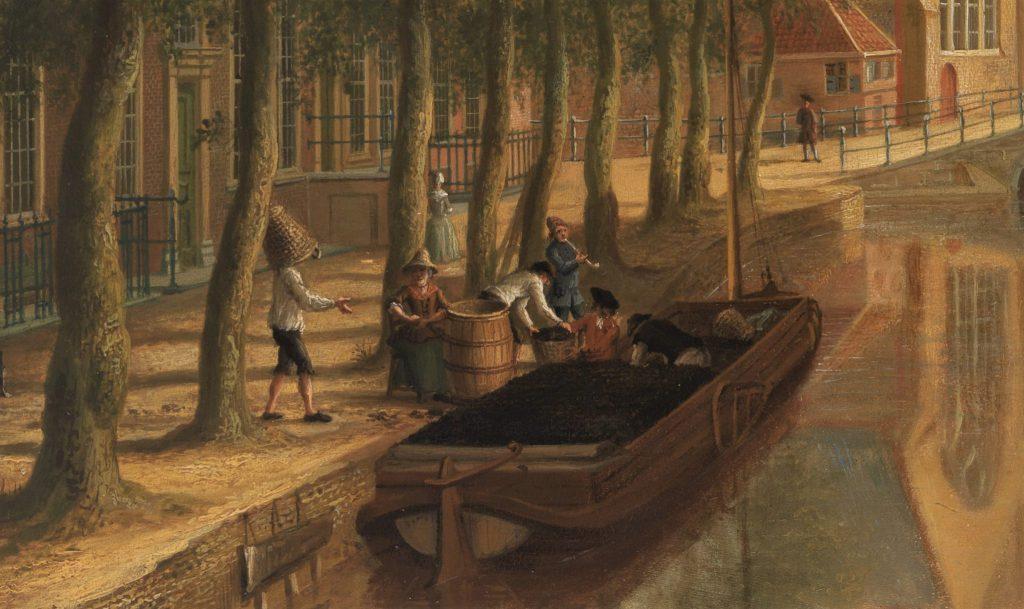 Turfdragers en een turftonster aan het werk bij het lossen van een vracht aan de Oude Delft. Detail uit een schilderij van C.P. la Fargue, 1759. (Collectie Museum Prinsenhof Delft, Foto Tom Haartsen)