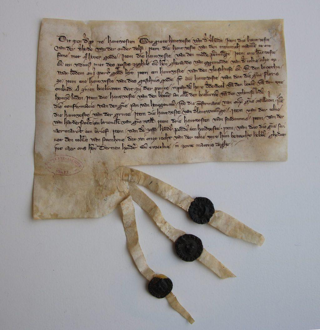 Oorkonde met opsomming van de privileges van de stad in 1313 (Archief 1, inv.nr 448, charter 1000)