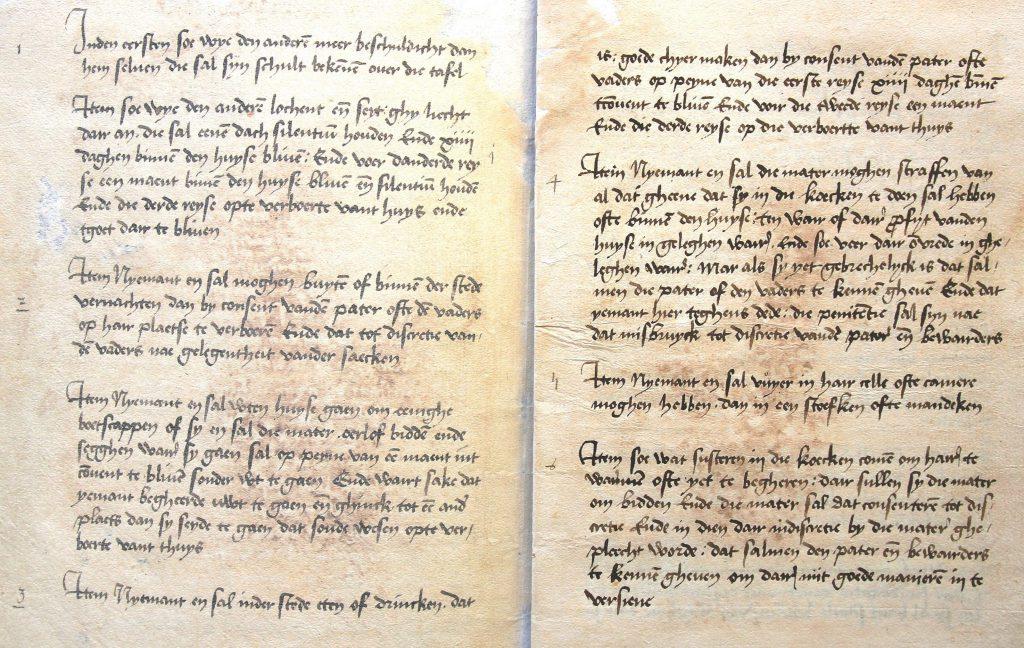 Reglement van het Heilige-Geestzusterhuis, gereconstrueerd op 3 maart 1538 (Archief 200, inv.nr 1)