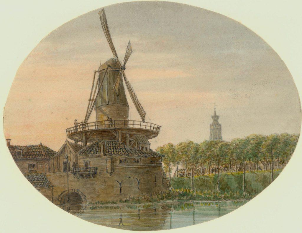 Molen Zeldenrust op de waltoren aan de Nieuwe Langendijk, omstreeks 1825 getekend door Otto Baron Howen (TMS 68590)