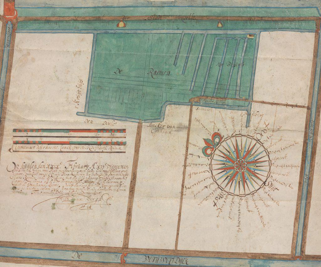 Kaart van het gebied tussen de Verwersdijk en de oostelijke stadssingel door Johan van Beest, 1644 (TMS 123011)