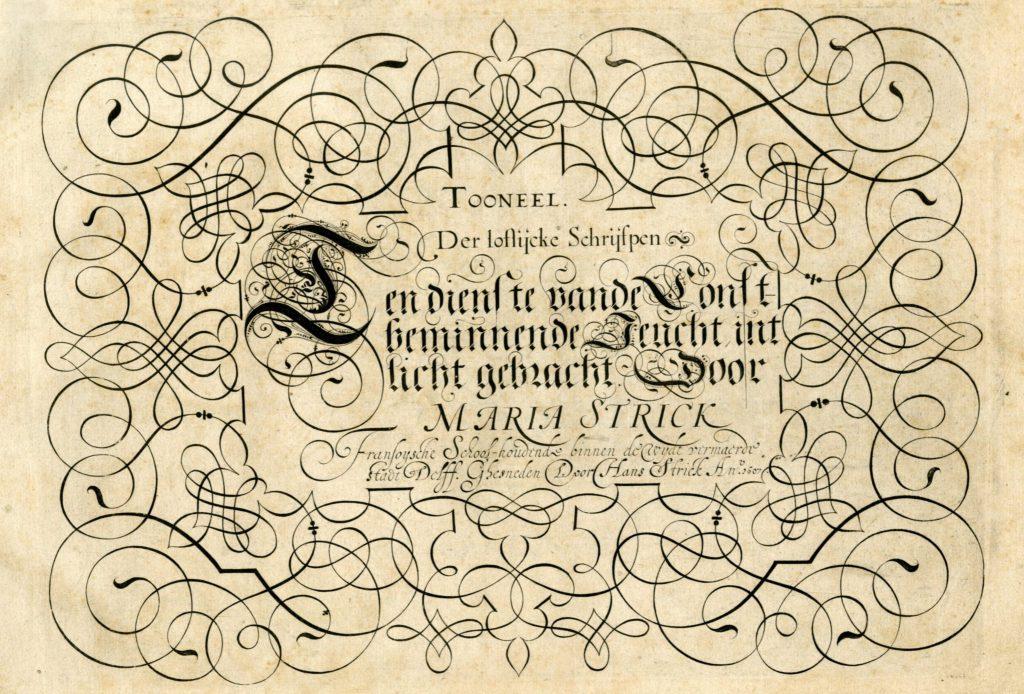 Titelpagina van Tooneel der loflijcke schrijfpen, geschreven door Maria Strick, met gravures door haar man Hans, 1607 (Bibliotheek 42 B 43)