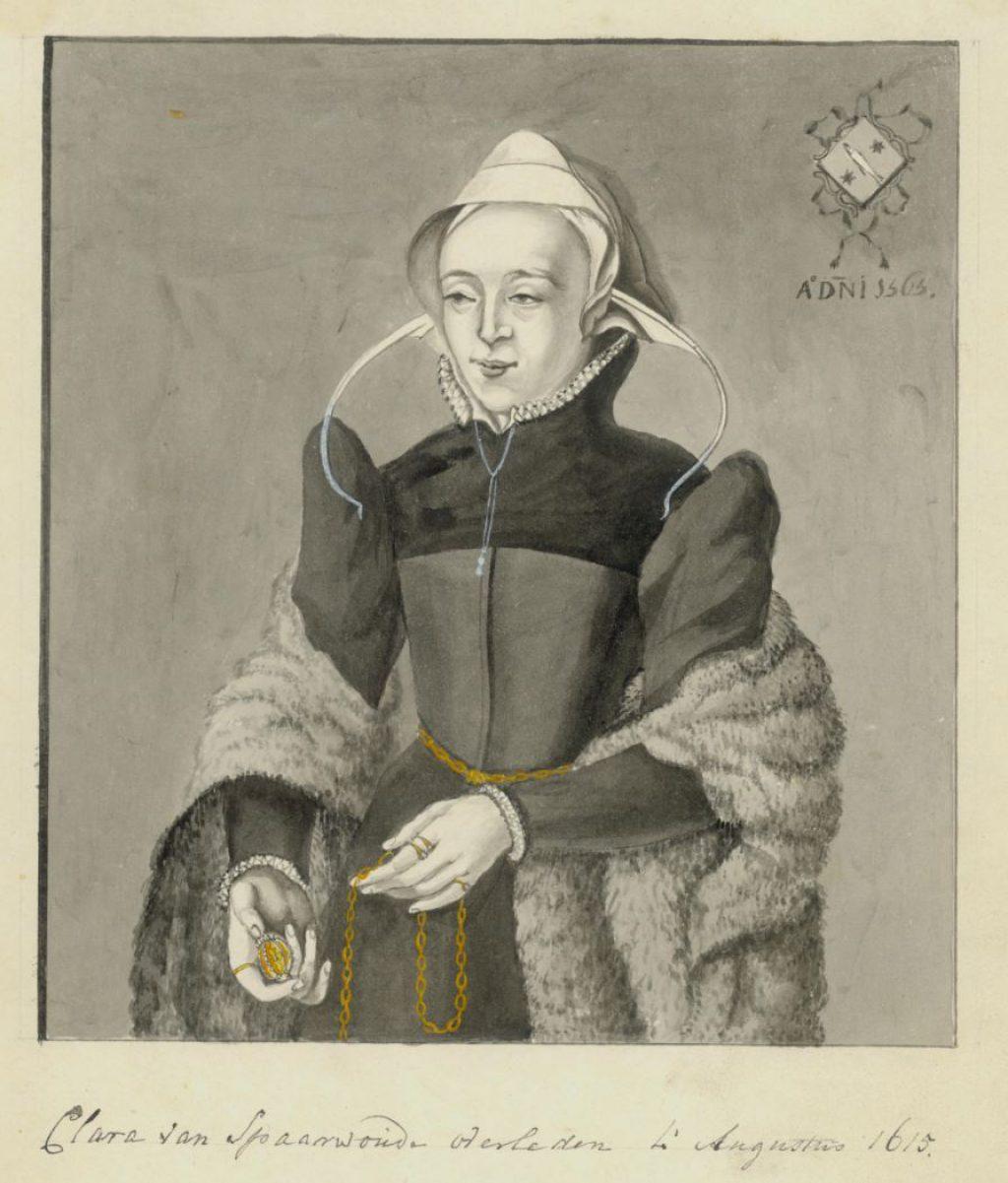 Getekend portret van Clara van Sparwoude, naar een schilderij in de Oude Kerk (TMS 77613)