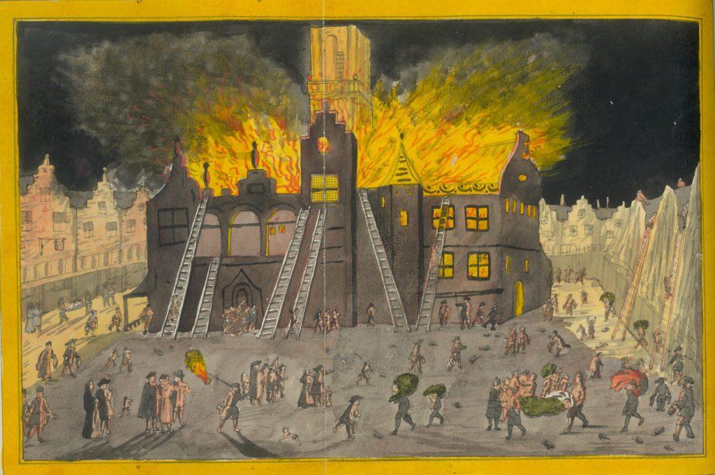 Aquarel van de brand in het stadhuis, 19e eeuw (TMS 59553)