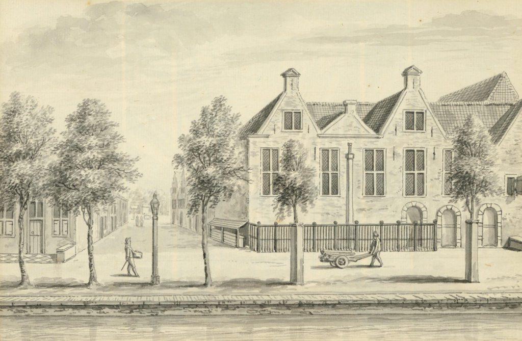 De lutherse kerk aan de Verwersdijk, hoek Van der Mastenstraat, 18e eeuw (TMS 5689)