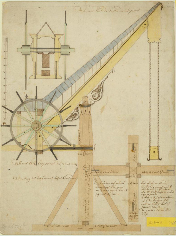 Tekening van de geschutkraan aan de Scheepmakerij door Isaak van der Star, 1751 (TMS 68961)