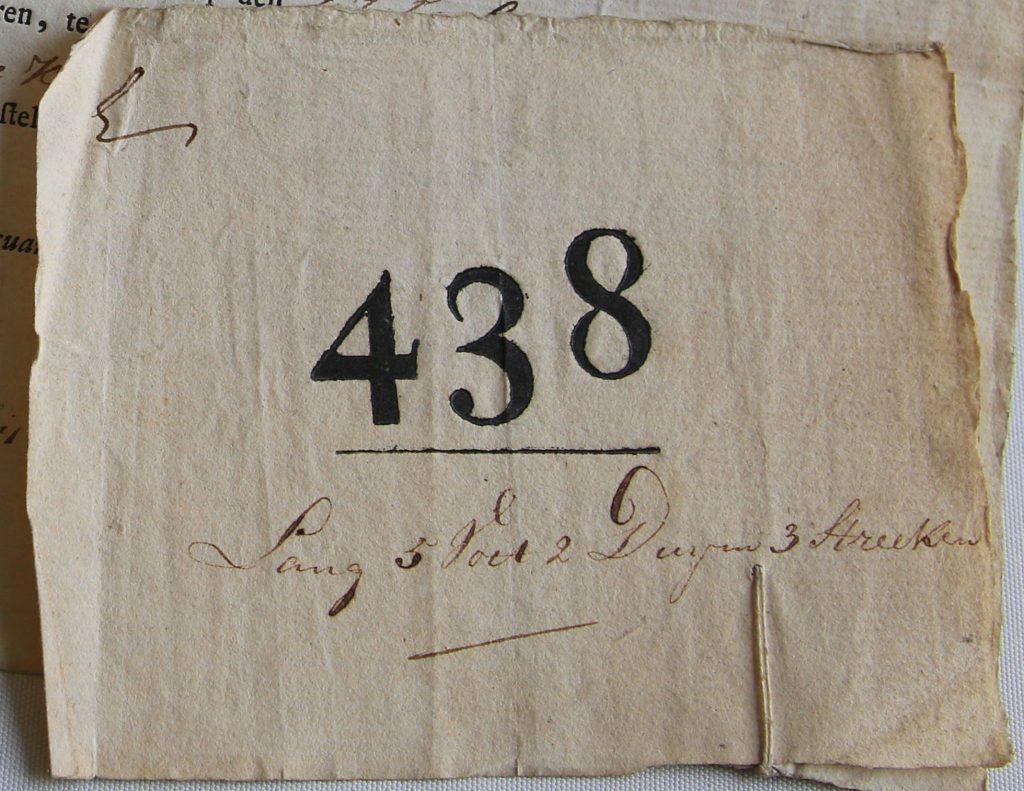 Lotnummer van G.M. Wiltens voor de Nationale Militie (Archief 598, inv.nr 1038)