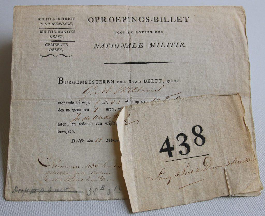 Bevelschrift voor G.M. Wiltens van de Nationale Militie (Archief 598, inv.nr 1038)