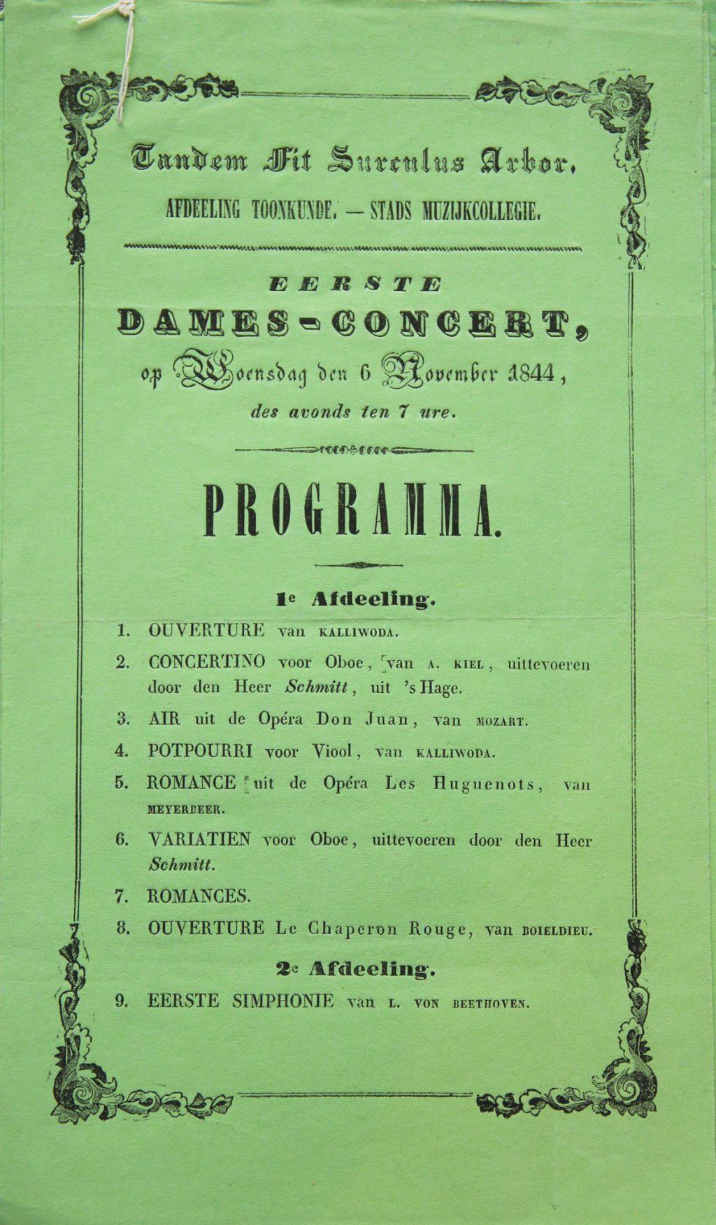 Programma voor het eerste damesconcert, 6 november 1844 (Archief 276, inv.nr 28)