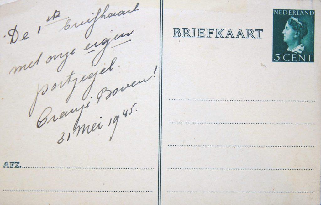 Briefkaart met voor het eerst weer een Nederlandse postzegel erop, 31 mei 1945 (Archief 598, inv.nr 1427)