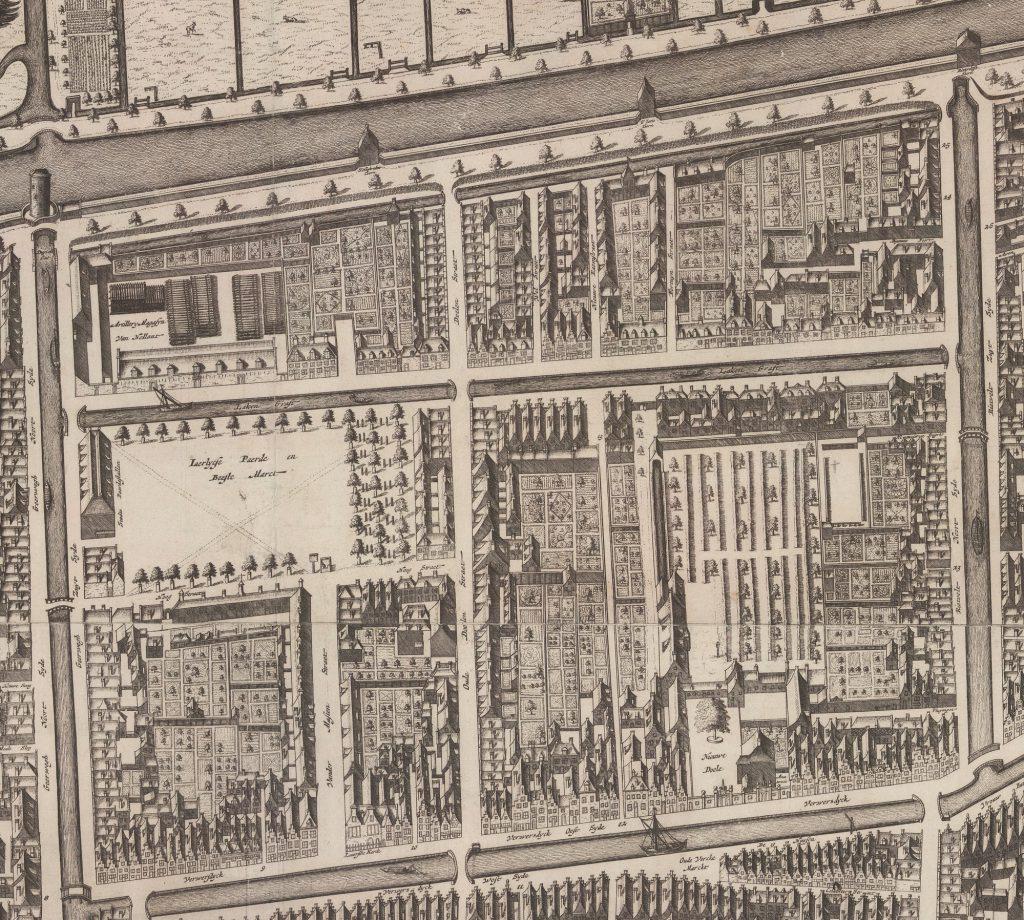 Detail van de Kaart Figuratief van 1678 met het gebied tussen de Verwersdijk en de oostelijke stadssingen (TMS 108599)