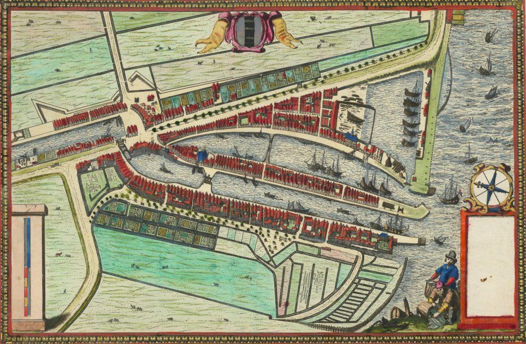 Ingekleurde gravure van Johannes de Ram met plattegrond van Delfshaven, c. 1680 (TMS 6780)