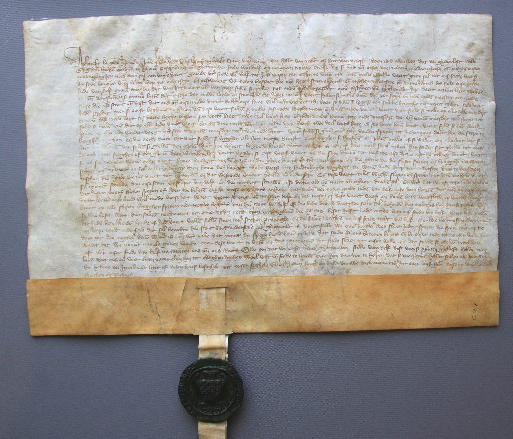 Oorkonde waarin hertog Albrecht Delft toestaat een vaart naar de Maas te graven (Archief 1, inv.nr 631, charter 5032)