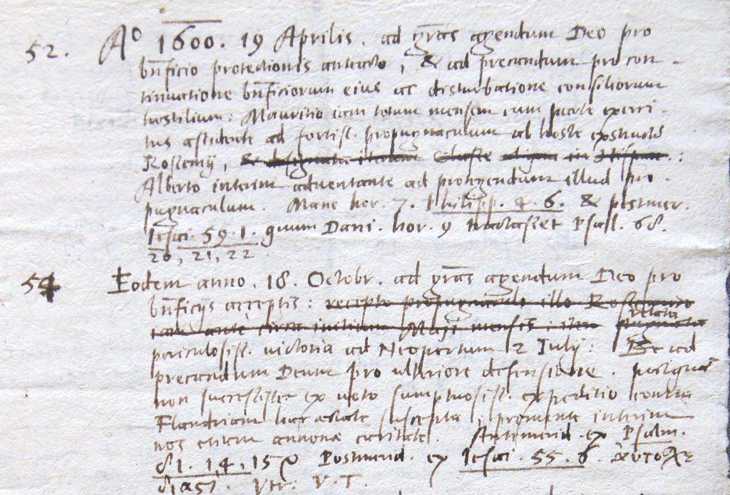 Lijst van bid- en vastendagen, 1573-1605; op 18 oktober een dankdag voor de victorie bij Neoportum ofwel Nieuwpoort (Archief 445, inv.nr 387)
