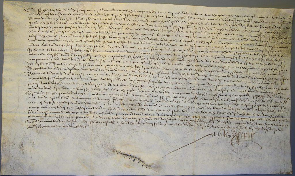 Akte waarbij 42 voormalige kloosterzusters erkennen dat zij hun persoonlijke eigendommen hebben ontvangen van hun mater, 1581 (Archief 444, inv.nr 61)