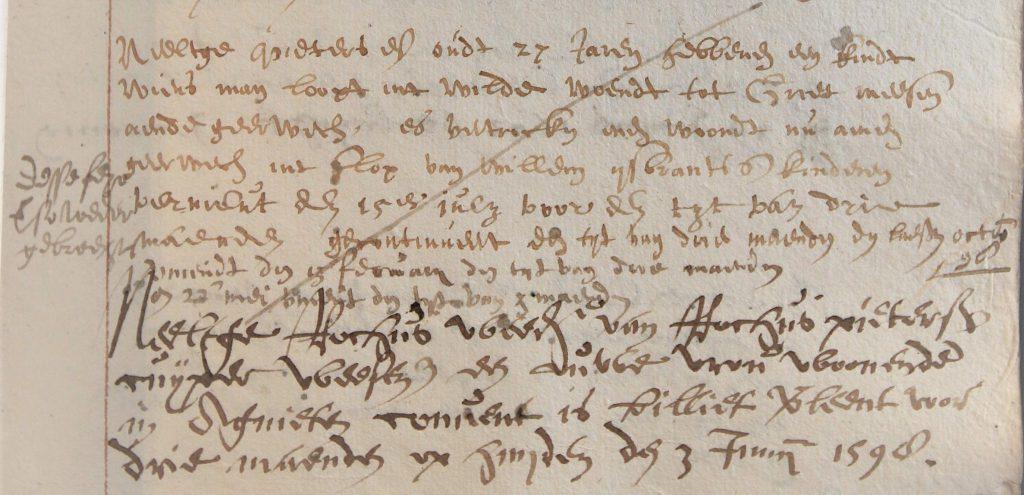 Bladzijde uit het 'Bedelaer-bouck', 1597-1610 (Archief 447, inv.nr 1063)