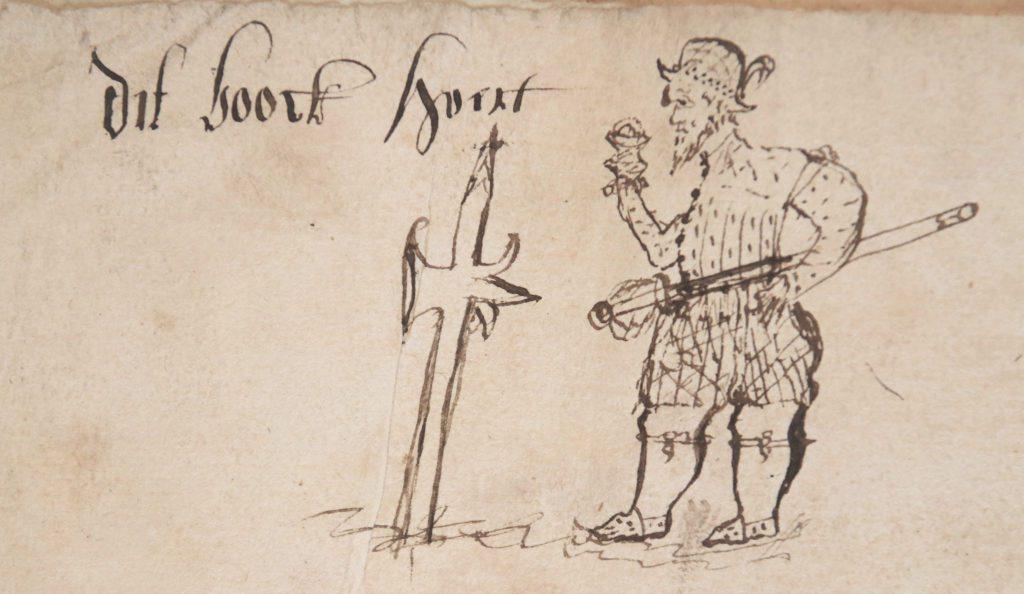 Tekening van een soldaat in het ledenregister van het Zoete Naam Jezusgilde, aangelegd in 1561 (Archief 435, inv.nr 201).