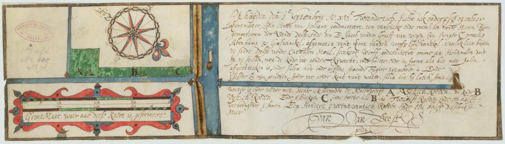 Kaart van land voor de bouw van een zaagmolen; Johan van Beest, 1632 (TMS 65716)