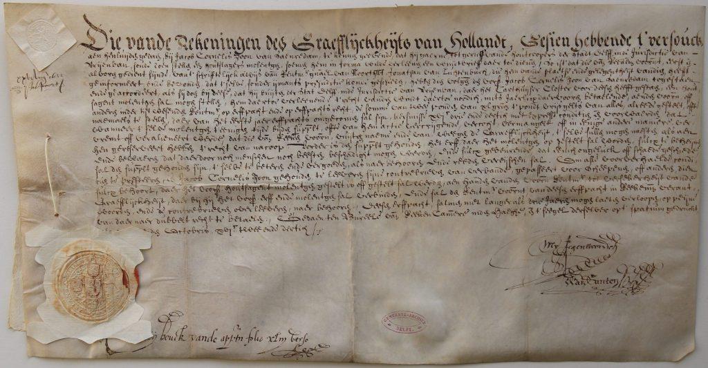 Windbrief voor Jacob Cornelisz van Zaandam, 1632 (Archief 1, inv.nr 1797, charter 5300)