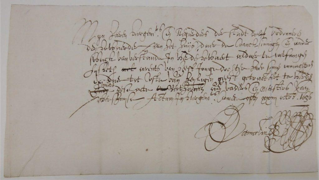 Briefje van de burgemeesters over de opname van Lysbeth van Beest, 1636. (Archief 201, inv.nr 300)