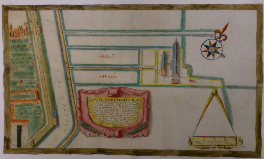 Kaart van het pesthuis en omgeving, in 1656 getekend door Jacob Spoor. Links de tegenwoordige Oranje Plantage, linksboven de Hopstraat. (TMS 65328)