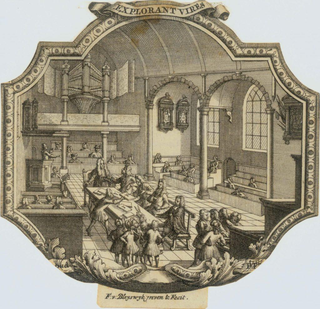 Promotieplechtigheid van de Latijnse school in de Waalse Kerk; gravure door Frans van Bleyswijck, c. 1700 (TMS 63428)