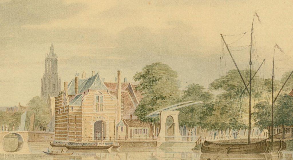 Detail van een Gezicht op Delft door Paulus van Liender, achttiende eeuw (TMS 7162)
