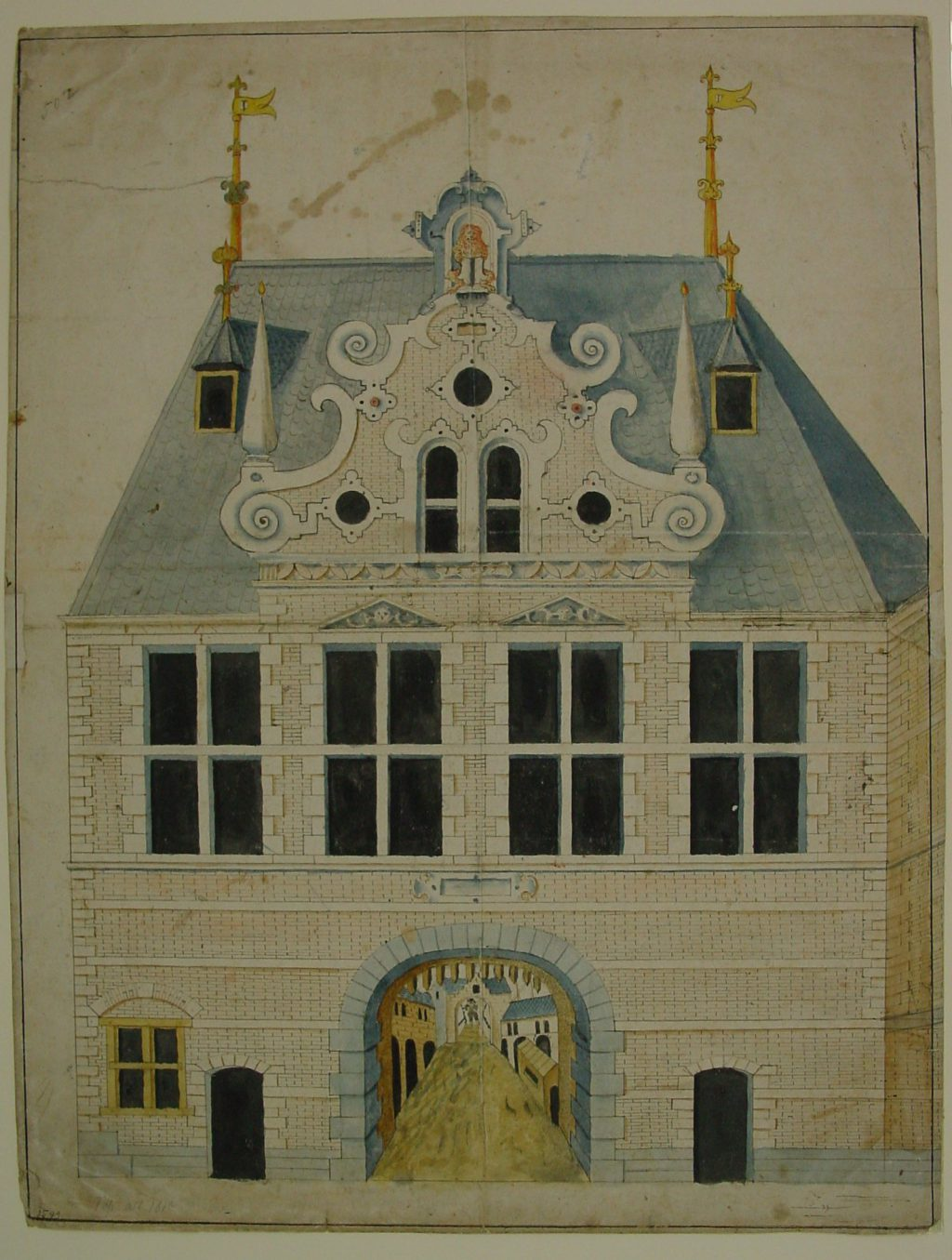 Tekening van de binnenzijde van de Rotterdamsepoort, 1599 (TMS 8321)