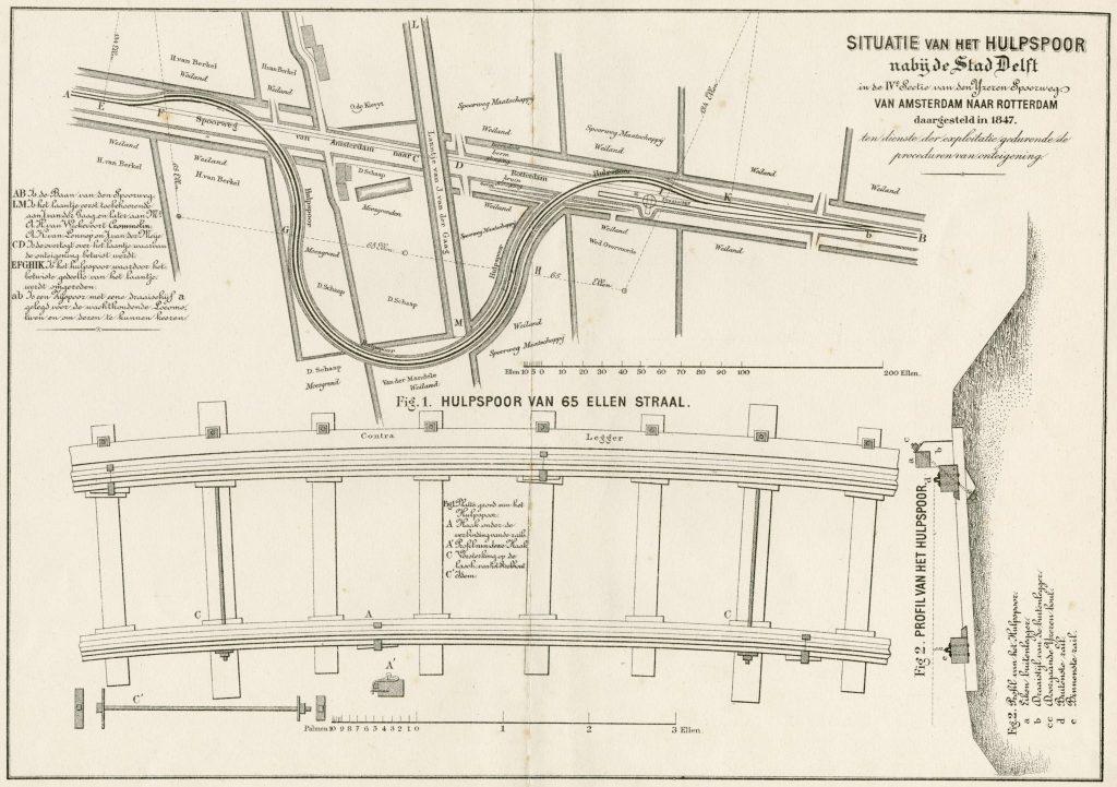 Het tijdelijke hulpspoor bij het Laantje van J. van der Gaag, aangevuld met technische details over de gebruikte rails, 1847 (TMS 2143)
