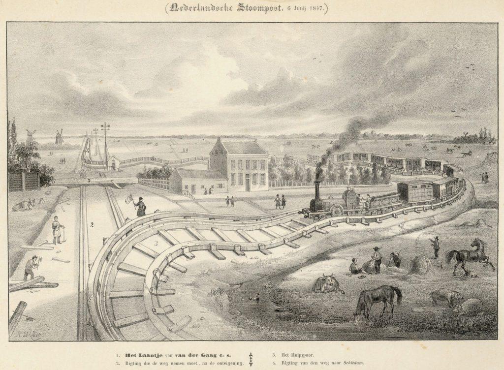 Hendrik Wilhelmus Last, Het tijdelijke hulpspoor bij het Laantje van J. van der Gaag, 1847 (TMS 2145)