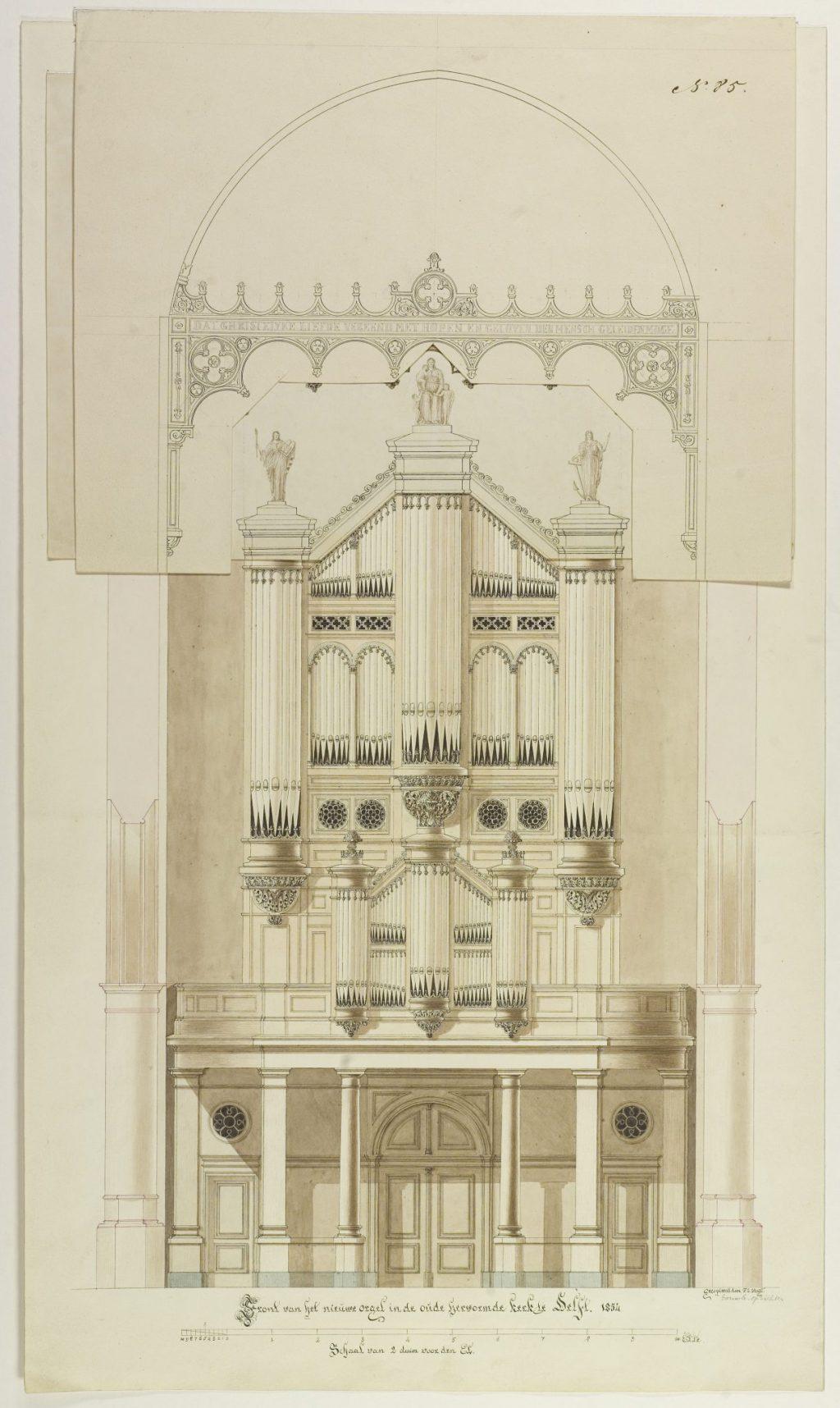 C.G.F. Witte, Ontwerptekening nieuw orgel Oude Kerk, 1854 (TMS 65681)