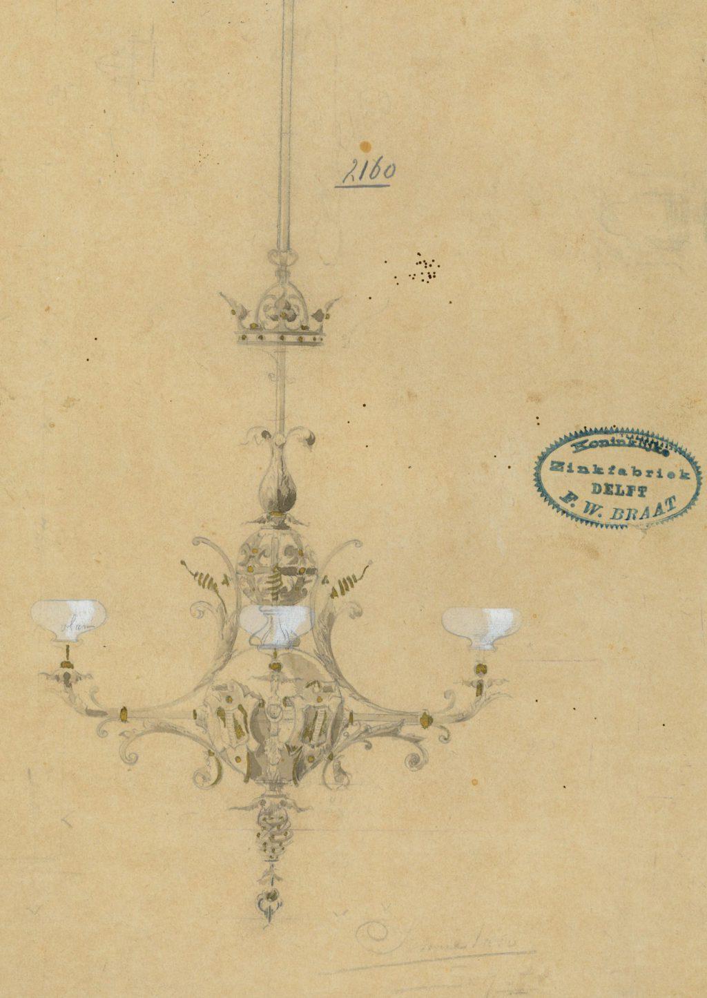 Ontwerp voor een kroonluchter voor de kamer van Burgemeester en Wethouders, ca. 1895-1905. Van 1994 tot 2017 hing de lamp in de voorkamer van Oude Delft 169, het voormalige Stadsarchief. (TMS 68473)