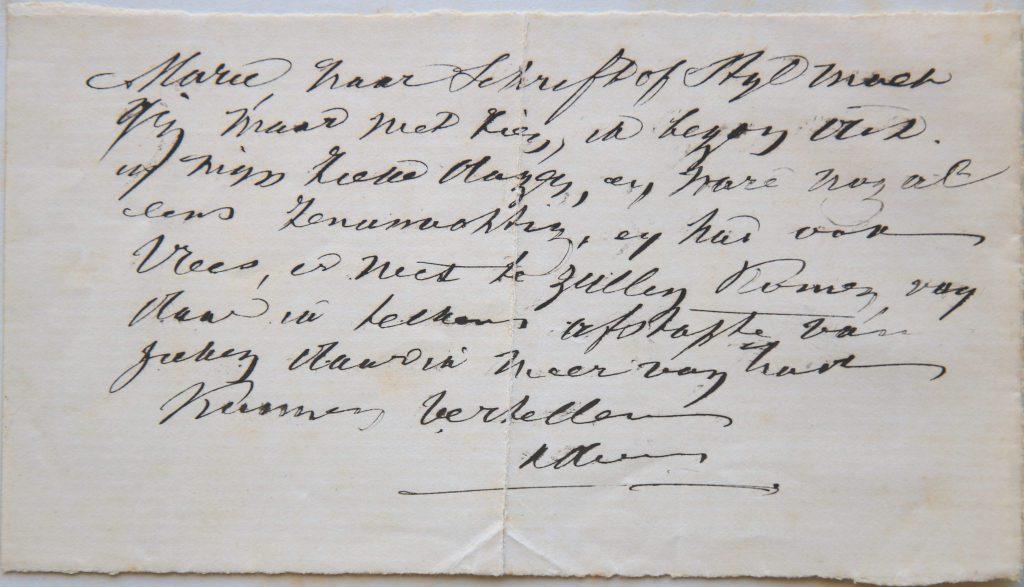 """Briefje in schrift van F.W. Braatvoor dochter Maria over zijn levensgeschiedenis, 1886 (Archief 598, inv.nr 721) """"Marie, naar schrift of stijl moet gij maar niet zien, ik begon dit in mijn zieke dagen, en ware nogal eens zenuwachtig, en had ook vrees, er niet te zullen komen, vandaar ik telkens afstapte van zaken daar ik meer van had kunnen vertellen. Vader"""""""
