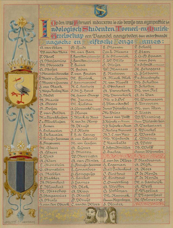 J.M. Lion, Naamlijst van Haagse en Delftse Jonge Dames, die een vaandel aanboden aan het Indologisch Studenten Toneel – en Muziek Gezelschap, 1897 (TMS 91594)