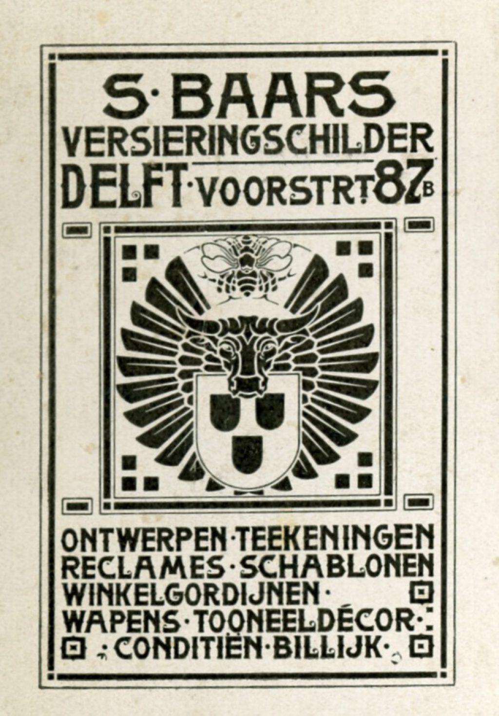 Advertentie voor versieringschilder Sipke Baars, ca. 1920 (TMS 121255)