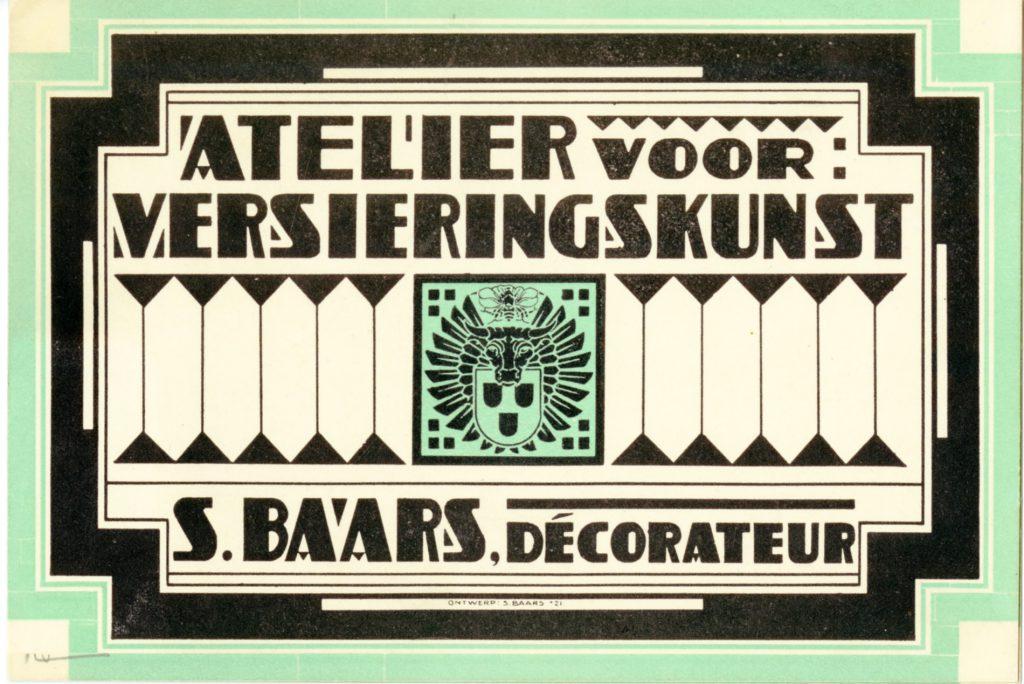 Etiket voor Atelier voor versieringskunst, S. Baars ca. 1921 (TMS 132682)