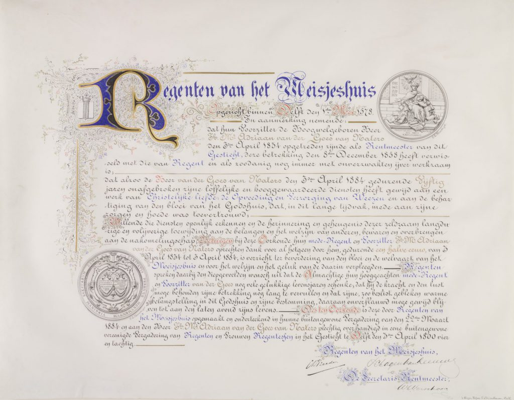 Oorkonde voor Adriaan van der Goes van Naters, 1884, door J.L. Brands