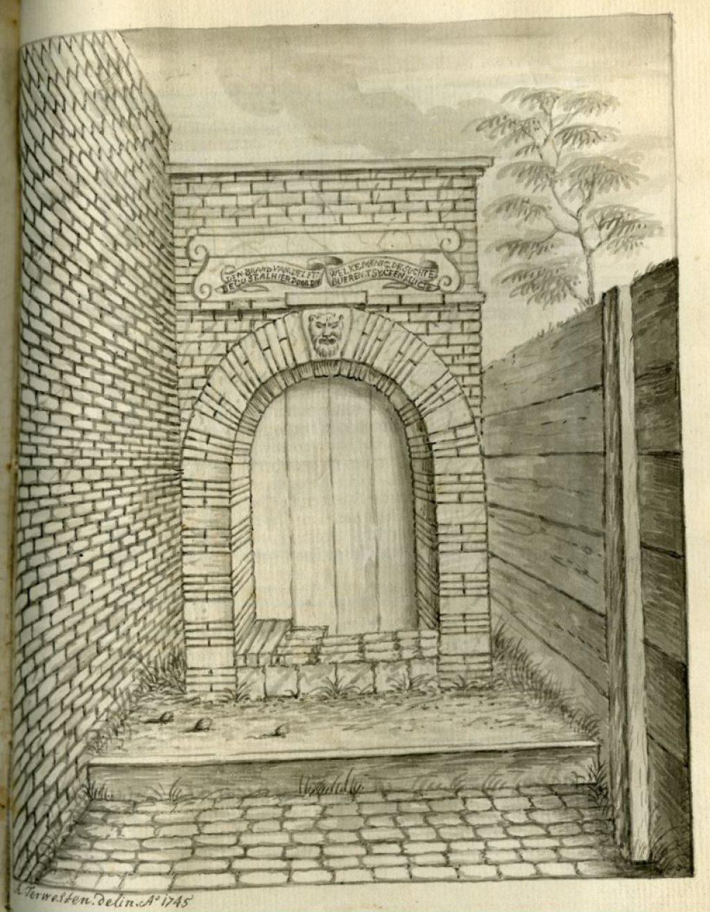 Tekening van een gevelsteen aan de Buitenwatersloot door A. Terwesten, 1745 (TMS 105092)