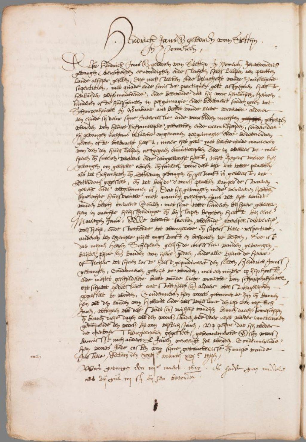 Vonnis van Hendrick Jansz, 26 maart 1610. (Archief 1, inv.nr 2384, folio 214v)