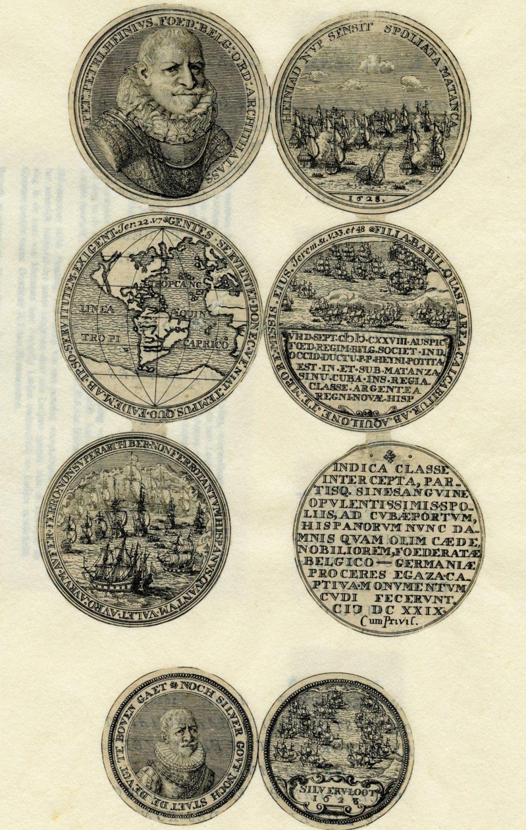 Gravure met penningen ter ere van Piet Hein door een anonieme kunstenaar, 17e eeuw (TMS 73969)