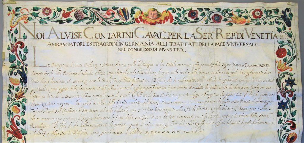 Detail van de oorkonde waarin Dirck Graswinckel wordt benoemd tot ridder van San Marco, 1645. (Archief 446, inv.nr 150, charter 7380)