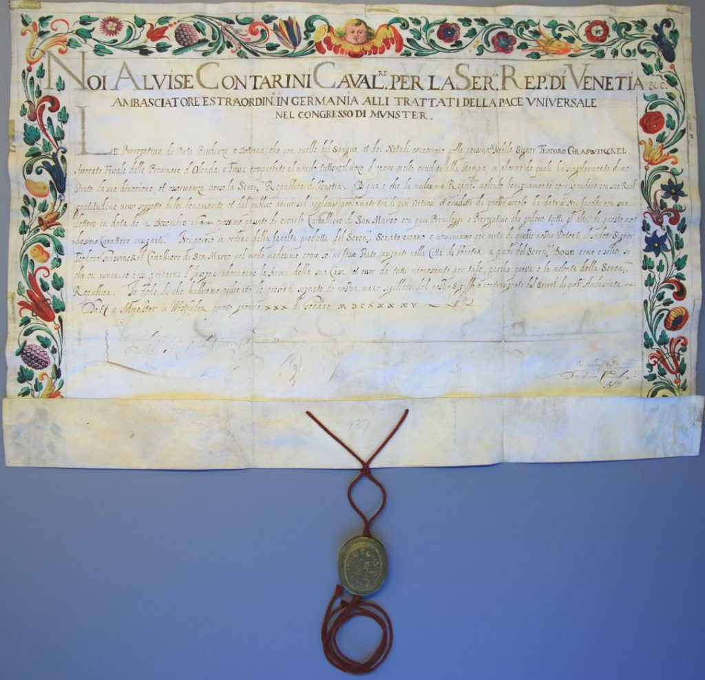 Oorkonde waarin Dirck Graswinckel wordt benoemd tot ridder van San Marco, 1645. (Archief 446, inv.nr 150, charter 7380)