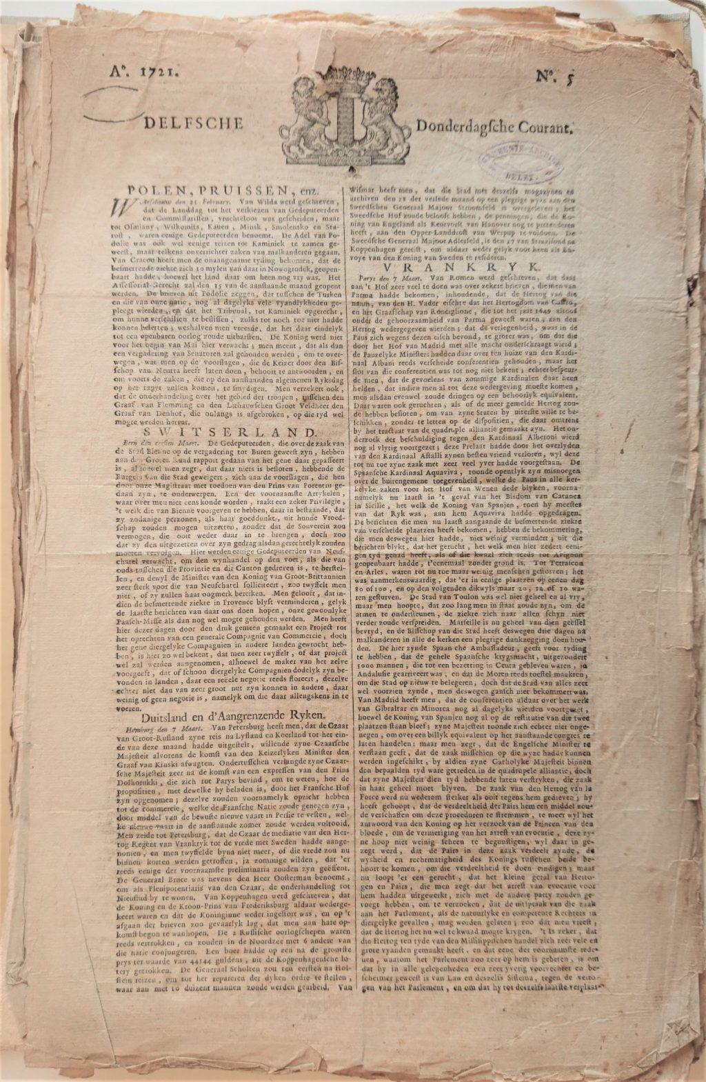 Delfsche Donderdagsche Courant, nummer 5 van 1721. (Bibliotheek)