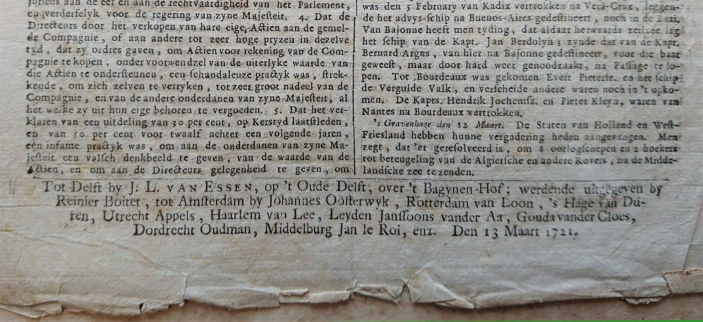 Achterzijde van de Delfsche Donderdagsche Courant, nummer 5 van 1721. (Bibliotheek)
