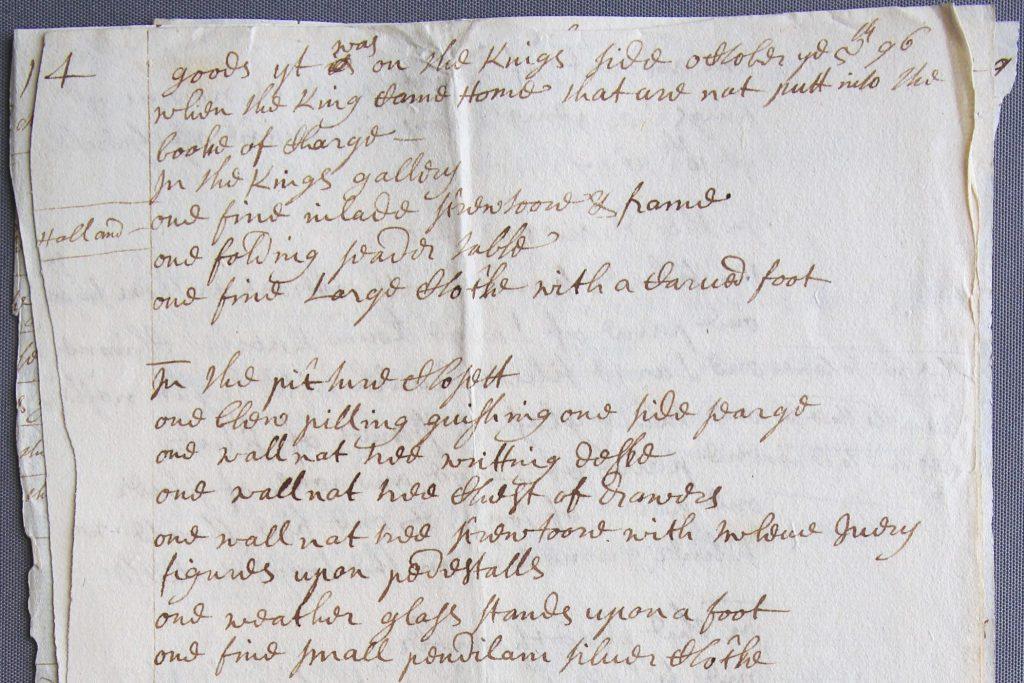 Boedelinventaris van Kensington Palace in Londen, oktober 1696 (Archief 72, inv.nr 11858)