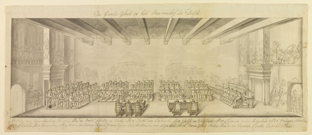 Synode van Zuid-Holland in de grote zaal van het Prinsenhof, 9-19 juli 1743, getekend door A. Terwesten (TMS 64758)